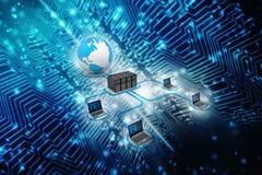 Δίκτυο υπολογιστών, επικοινωνία Διαδικτύου στο υπόβαθρο τεχνολογίας τρισδιάστατη απόδοση στοκ εικόνα