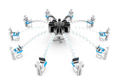 Δίκτυο υπολογιστών με τη διανομή στοιχείων διανυσματική απεικόνιση