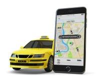 Δίκτυο app μεταφορών, που καλεί ένα αμάξι από την κινητή τηλεφωνική έννοια Στοκ φωτογραφία με δικαίωμα ελεύθερης χρήσης