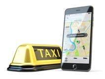 Δίκτυο app μεταφορών, που καλεί ένα αμάξι από την κινητή τηλεφωνική έννοια Στοκ Εικόνες