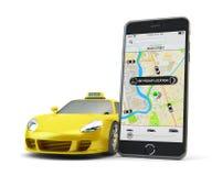 Δίκτυο app μεταφορών, που καλεί ένα αμάξι από την κινητή τηλεφωνική έννοια Στοκ Εικόνα