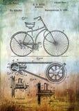 Δίπλωμα ευρεσιτεχνίας ποδηλάτων από το 1890 Στοκ Φωτογραφία