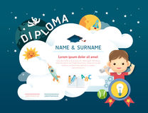 Δίπλωμα παιδιών πιστοποιητικών, διαστημική ΤΣΕ σχεδιαγράμματος προτύπων παιδικών σταθμών Στοκ Φωτογραφίες