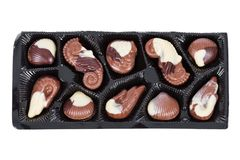 Δίσκος βελγικά bonbons σοκολάτας γάλακτος που διαμορφώνονται ως θαλασσινά κοχύλια με τα μαλάκια, seahorses Στοκ Εικόνα