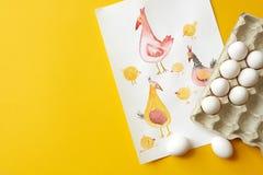 Δίσκος εγγράφου με τα αυγά Στοκ φωτογραφίες με δικαίωμα ελεύθερης χρήσης
