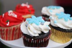 Δίσκος με διακοσμημένος cupcakes Στοκ Φωτογραφίες