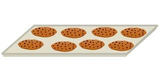 Δίσκος μπισκότων τσιπ σοκολάτας απεικόνιση αποθεμάτων