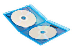 Δίσκος Dvd στα μπλε κιβώτια Στοκ φωτογραφία με δικαίωμα ελεύθερης χρήσης