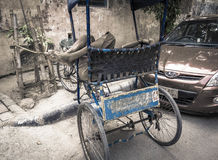 Δίτροχος χειράμαξα στις οδούς του Hyderabad στην Ινδία που παίρνει ένα NAP Στοκ Φωτογραφίες