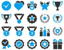 Δίχρωμα εικονίδια ανταγωνισμού και επιτυχίας Στοκ Εικόνα