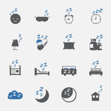 Δίχρωμα εικονίδια ύπνου και τρόπου ζωής καθορισμένα διάνυσμα απεικόνιση Στοκ Εικόνες