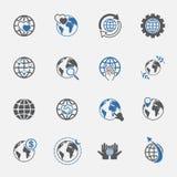 Δίχρωμα σφαιρικά και εικονίδια παγκόσμια σημαδιών καθορισμένα διάνυσμα απεικόνιση Στοκ φωτογραφίες με δικαίωμα ελεύθερης χρήσης