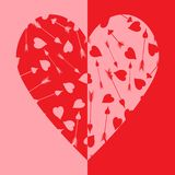 Δίχρωμη καρδιά του κοκκίνου και του ροζ διανυσματική απεικόνιση