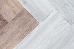 Δίχρωμο αφηρημένο άσπρο και καφετί ξύλινο δάπεδο υποβάθρου tex Στοκ Φωτογραφίες