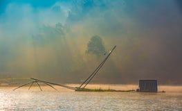 Δίχτυ του ψαρέματος στον ποταμό Στοκ Εικόνες