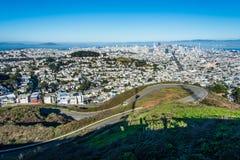 Δίδυμες αιχμές, Σαν Φρανσίσκο, Καλιφόρνια, ΗΠΑ Στοκ Εικόνες