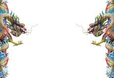 Δίδυμο άγαλμα δράκων, κινεζικό ύφος που απομονώνεται στο άσπρο υπόβαθρο Στοκ Εικόνες