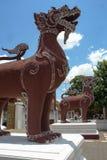 Δίδυμο αγαλμάτων λιονταριών Singha Στοκ Εικόνα