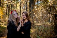 Δαίμονας και μάγισσα αποκριών στα ξύλα στοκ εικόνες
