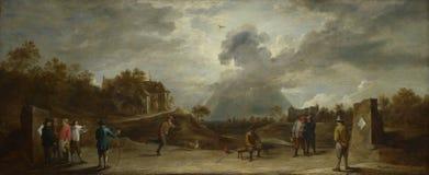 Δαβίδ Teniers ο νεώτερος - αγρότες στην τοξοβολία στοκ εικόνες