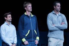 Δαβίδ Ferrer (ESP), Kevin Άντερσον (ΔΝΑ) και John Isner (ΗΠΑ) Στοκ Φωτογραφία