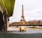Δαγκωμένος πυρήνας μήλων που αφήνεται στη γέφυρα του Παρισιού Στοκ εικόνα με δικαίωμα ελεύθερης χρήσης