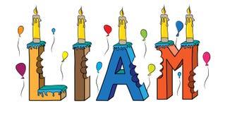 Δαγκωμένο ζωηρόχρωμο τρισδιάστατο γράφοντας κέικ γενεθλίων ονόματος του Liam με τα κεριά και τα μπαλόνια απεικόνιση αποθεμάτων