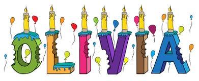 Δαγκωμένο ζωηρόχρωμο τρισδιάστατο γράφοντας κέικ γενεθλίων ονόματος της Ολίβια με τα κεριά και τα μπαλόνια απεικόνιση αποθεμάτων