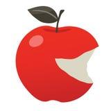 Δαγκωμένο κόκκινο μήλο Smiley Στοκ Εικόνες