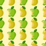 Δαγκωμένο μήλων υποβάθρου διανυσματικό άνευ ραφής σχέδιο φετών φρούτων απεικόνισης υφαντικό πράσινο Στοκ Εικόνα