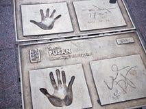 Δακτυλικό αποτύπωμα αστέρων κινηματογράφου προσωπικοτήτων στο τετράγωνο BIFF Στοκ εικόνα με δικαίωμα ελεύθερης χρήσης