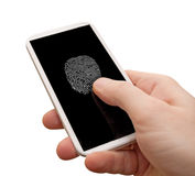 Δακτυλικό αποτύπωμα στο smartphone Στοκ Εικόνες