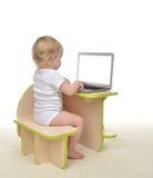 Δακτυλογράφηση μικρών παιδιών κοριτσάκι παιδιών στο σύγχρονο lap-top υπολογιστών keyboar Στοκ Εικόνες