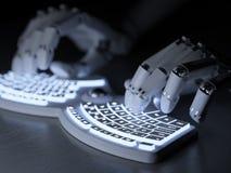 Δακτυλογράφηση ρομπότ στο εννοιολογικό μόνος-φωτισμένο πληκτρολόγιο Στοκ Φωτογραφία