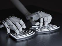 Δακτυλογράφηση ρομπότ στο εννοιολογικό μόνος-φωτισμένο πληκτρολόγιο Στοκ Εικόνες