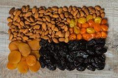 Δαμάσκηνα, ξηρά βερίκοκα, ξηρά μανταρίνια και αμύγδαλα σε ένα ελαφρύ ξύλινο υπόβαθρο Στοκ εικόνα με δικαίωμα ελεύθερης χρήσης