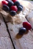 Δαμάσκηνων αγροτικό ξύλινο υπόβαθρο της Λευκής Βίβλου φρούτων φρέσκο Στοκ Εικόνες