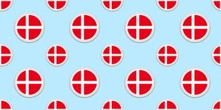 Δανία γύρω από το άνευ ραφής σχέδιο σημαιών Δανικό υπόβαθρο Διανυσματικά εικονίδια κύκλων Γεωμετρικές αυτοκόλλητες ετικέττες συμβ διανυσματική απεικόνιση