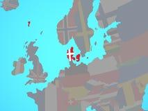 Δανία με τη σημαία στο χάρτη απεικόνιση αποθεμάτων