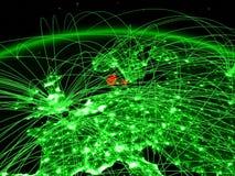 Δανία στην πράσινη σφαίρα διανυσματική απεικόνιση