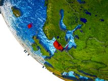 Δανία στην τρισδιάστατη γη ελεύθερη απεικόνιση δικαιώματος