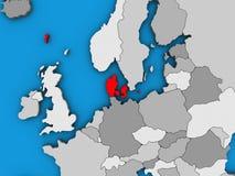 Δανία στον τρισδιάστατο χάρτη διανυσματική απεικόνιση