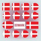 Δανικά εθνικά χρώματα, διανυσματικά εικονίδια διακριτικών καθορισμέν απεικόνιση αποθεμάτων