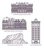 Δανικά μεσαιωνικά κτήρια της Δανίας ή στη λεπτή γραμμή απεικόνιση αποθεμάτων