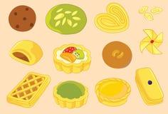 Δανικά, πίτα και διανυσματικές εικονίδιο και απεικόνιση μπισκότων διανυσματική απεικόνιση