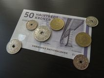 Δανικά χαρτονομίσματα κορωνών και νομίσματα, Δανία Στοκ εικόνα με δικαίωμα ελεύθερης χρήσης
