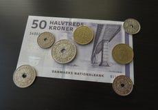 Δανικά χαρτονομίσματα κορωνών και νομίσματα, Δανία Στοκ Φωτογραφία