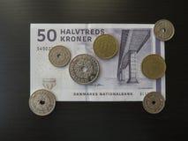 Δανικά χαρτονομίσματα κορωνών και νομίσματα, Δανία Στοκ Εικόνες