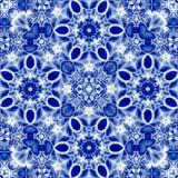Δαντελλωτός μπλε τετραγωνικά σχέδια arabesque, ρωσική διακόσμηση για το σάλι ή τάπητας Στοκ Φωτογραφίες