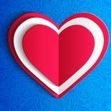 Δαντελλωτός ευχετήρια κάρτα καρδιών ημέρας του διανυσματικού βαλεντίνου επάνω Στοκ φωτογραφίες με δικαίωμα ελεύθερης χρήσης